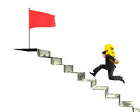 Businessman running, carrying gold Euro on money stairs to flag Royalty Free Stock Photography