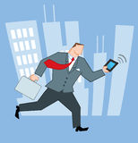 Businessman running through a city Royalty Free Stock Images