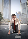 Businessman running in the city Royalty Free Stock Photo
