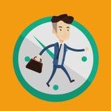 Businessman running on clock background. Stock Image