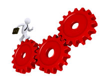 Businessman running on cogs. 3d businessman is running on three red cogs Royalty Free Stock Images