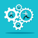 Businessman is running in the cogwheel machine. Company concept. Royalty Free Stock Image