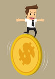 Businessman running on the coin, the financial risk. Vector Royalty Free Stock Photos