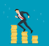 Businessman running on coins graph to success, business concept illustration. EPS 10 Royalty Free Stock Photography