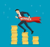 Businessman running on coins graph to success, business concept illustration. EPS 10 Stock Images