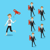 Businessman running different way with others and throw away the Royalty Free Stock Images