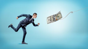 A businessman running after a dollar bill that`s attached to a silver hook. Carrot and stick. Financial motivation. Earnings and income Royalty Free Stock Photos