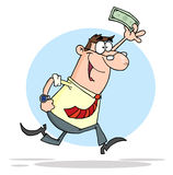 Businessman running with dollar in hand Royalty Free Stock Image