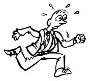 Businessman Running Drawing. A grunge hand drawn style drawing of a running stressed sweating businessman Stock Image