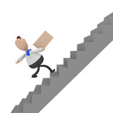 Businessman running fast upstairs, 3d rendering. Businessman running fast upstairs with an envelope in his hand, 3d rendering Stock Images