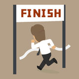 Businessman running at the finish line. Vector Stock Photography