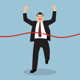 Businessman running at the finish line. Vector Illustration Stock Images