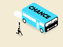 Businessman running follow the chance bus. Isometric design concept of businessman catching up the chance stock illustration