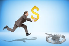 Businessman running forward with dollar sign Royalty Free Stock Photography
