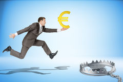 Businessman running forward with euro sign Royalty Free Stock Image