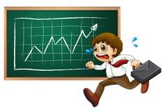 A businessman running in front of blackboard. Illustration of a businessman running hurriedly in front of the blackboard on a white background stock illustration