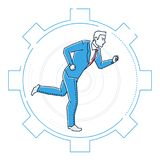 Businessman running in a gear - line design style illustration. On white background. Metaphorical image of a young person going towards the aim. Effectiveness Stock Image