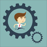 Businessman running in gear vector Royalty Free Stock Image