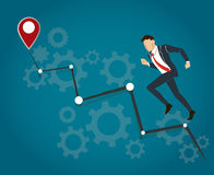 Businessman running with gears and high grape to success vector Royalty Free Stock Photos