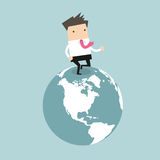 Businessman running on the globe. business innovation and Development concept Royalty Free Stock Photo