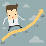 Businessman running on a graph. Businessman running on a yellow graph Stock Image