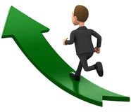 Businessman running on a green up arrow Royalty Free Stock Photo