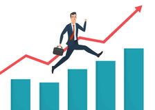 Businessman running grow up graph. Business cartoon concept. Royalty Free Stock Photo