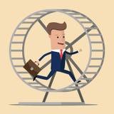 Businessman running in a hamster wheel. Vector illustration vector illustration
