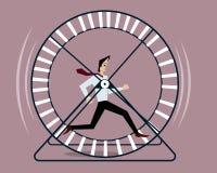 Businessman running in hamster wheel royalty free illustration