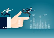 Businessman running on the hand and city. Idea cartoon business concept,the businessman is running on the hand and index finger is pointing to the city Royalty Free Stock Image