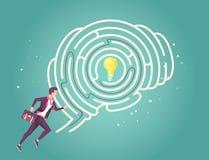 Businessman running through his brain maze to find idea Stock Image