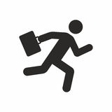 Businessman running with his briefcase. Vector icon isolated on white background stock illustration