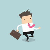 Businessman running with his briefcase Royalty Free Stock Photography