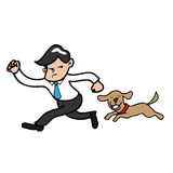 Businessman running hurry. Businessman running with dog isolated vector stock illustration