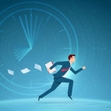Businessman running in a hurry with papers. Royalty Free Stock Image