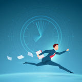 Businessman running in a hurry with papers. Stock Images