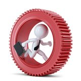 Businessman running inside gear. Business metaphor Royalty Free Stock Photography