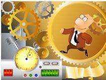 Businessman is running inside machinery. Illustration of a business man is running inside corporate machinery Stock Photos