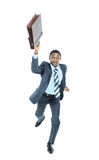Businessman running isolated on white Stock Images