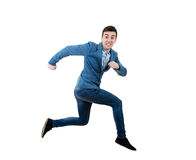 Businessman running and jumping Royalty Free Stock Images