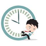 Businessman running late as hurry up for work and clock on white background Royalty Free Stock Photos