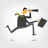 Businessman running and looking for Royalty Free Stock Photo