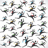 Businessman running man pattern background Stock Photo