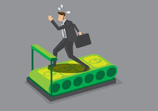 Businessman Running on Money Treadmill Vector Illustration Stock Images