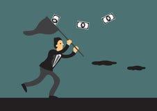 Businessman Running After Money Vector Cartoon Illustration Royalty Free Stock Photos
