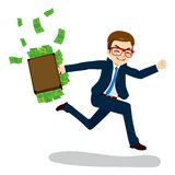 Businessman Running with Money Stock Photo