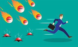 Businessman Running From Negativity Meteors. A Businessman Is Running Hurriedly From Falling Meteors/Comets Of Negativity With Fire. Three Of Them Already Hit Royalty Free Stock Photo