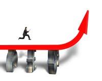 Businessman Running On Red Arrow Bridge Stock Images