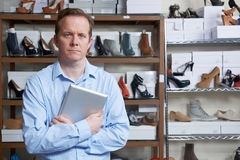 Businessman Running Online Shoe Store. Portrait Of Male Owner Of Shoe Store Stock Photography