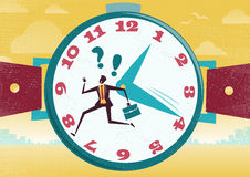 Businessman is running out of time. Great illustration of Retro Styled Businessman who is running the race of his life with just not enough time to get to a Royalty Free Stock Photos